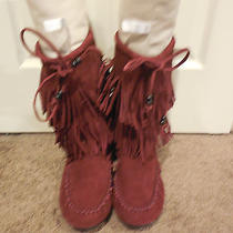 Minnetonka 2 Layer Fringe Suede Boot Size 10 in Wine / Burgundy Photo