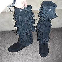 Minnetonka 3-Layer Calf High Fringe Tassel Suede Western Boots Black Size 9 Photo