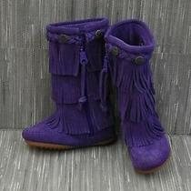Minnetonka 3 Layer Fringe 2654s Boots Toddler Girl's Size 7 Purple Photo