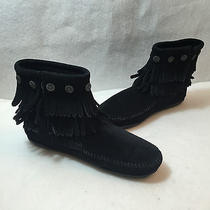Minnetonka 699 Double Fringe Side Zip Ankle Boots Black Suede Womens Size 7 M Photo