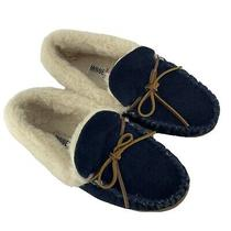 Minnetonka Allie Jr Trapper Moccasin House Slippers Leather Size 6 Navy Blue Photo