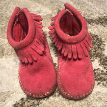Minnetonka Baby Toddler Pink Suede Fringe Boots Size 4 Photo