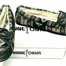 Minnetonka Baja Cally Geometric Black Fur Lined Slipper Moccasin Shoes Size 6 M Photo