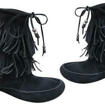 Minnetonka Black 2-Layer Boho Fringe Suede Moccasin Calf Boots/booties Sz 6 Photo