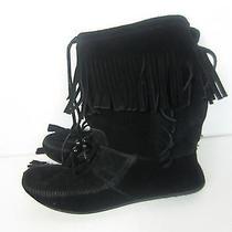 Minnetonka Black Fringe Calf Boots Size 10 Photo
