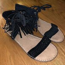 Minnetonka Black Fringe Sandals Womens Size 6 Photo
