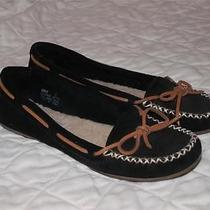 Minnetonka Black Leather Driving Moccasins Flats Loafers Mocs Shoes 6 Photo