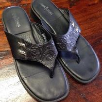 Minnetonka Black Leather Floral Print Thong Sandals Flip Flops Sz 9 Euc Htf Ptrn Photo