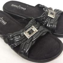 Minnetonka Black Leather Sandals Slides Braided Womens Size 6 Photo