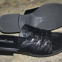 Minnetonka Black Leather Tooled Embossed Slides Silver Accents Whip Stitched  Photo