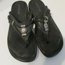 Minnetonka Black Thong Slip on Flip Flop Leather Sandal Slide  Shoe Size 8  Photo