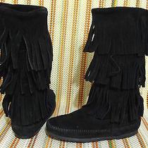 Minnetonka  Boots Women Size 5 M Fringes Black Suede Fashion --Best Buy  Photo