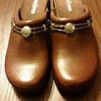 Minnetonka Brown Leather and Concho Slip on Clogs Never Worn Size 8.5 Photo