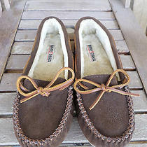 Minnetonka Brown Leather Fur-Lined Moccasins Women's 11 Photo