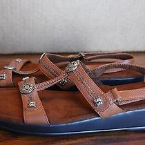 Minnetonka Brown Leather Strappy Sandals W/ Silver Embellishments. Sz 9. Euc Photo