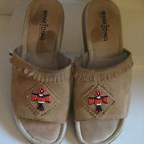 Minnetonka Brown Leather With Beaded Thunder Bird Slide Sandals Sz 9 Photo