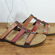 Minnetonka Brown / Red  Leather Sandals Women's 8 Photo