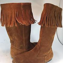 Minnetonka Brown Suede Leather Fringe Boots Womens 6 Shoes 1622 Calf High Flats Photo
