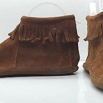 Minnetonka Brown Suede Zip Up Comfort Loafers Moccasins Flats Ankle Boots Sz 6 Photo