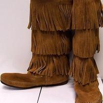 Minnetonka Calf Hi 3-Layer Fringe Boot Womens 7 Brown Photo