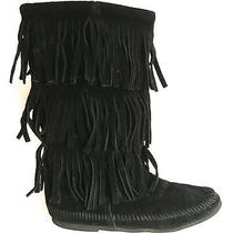 Minnetonka Calf High 3 Layer Fringe Boot Black Suede Size 7 Photo