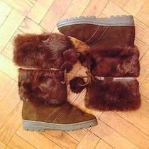 Minnetonka Carson Suede & Rabbit Fur Winter Boots Size 9 Brown Photo