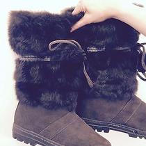 Minnetonka Carson Suede & Rabbit Fur Winter Boots Size 9 Gray  Photo