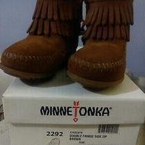 Minnetonka Childs sz.8 Double Fringe Side Zip Brown Boots 2292 Nwbox Photo