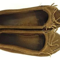 Minnetonka Dark Brown Suede Leather Moccasin Driving Loafers Sz 10 Fringe Photo