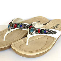 Minnetonka Dayton Flip Flop Sandals Women's 7 Beaded Gorgeous White Leather Photo