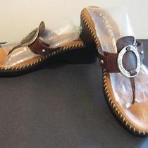 Minnetonka Denver Thong Brown Leather  Wedge Sandal 9 Photo