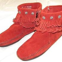 Minnetonka Double Fringe Red Suede Leather Ankle Boots Shoes W/ Medallions Sz 10 Photo