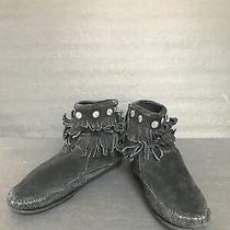 Minnetonka Fringe Black Suede Zip Up Moccasin Boots Women Size 8 Photo
