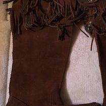 Minnetonka Fringe Suede Brown Boots Moccasins Womens 5 Zippers New Photo
