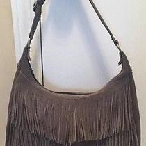 Minnetonka Gen. Suede Leather Grey Fringe Handbag Shoulder Bag Purse Euc Photo