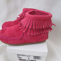 Minnetonka Girl Double Fringe Side Zip Boot 1295  Infant/toddler Size 6 Nib New Photo