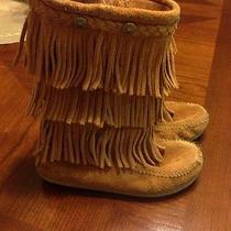 Minnetonka Girl's Boots With Fringe Euc Size 1 Photo