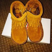 Minnetonka Girl's Suede Fringe Boots Moccasins Toddler Size 5 Hanna Andersson Photo