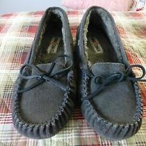 Minnetonka Gray Suede Slippers Moccasins Faux Fur Lining Womens Size 9 Photo