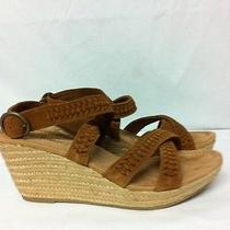 Minnetonka Haley Platform Wedge Sandals Brown Suede Size 10m Photo