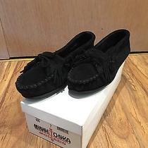 Minnetonka Kilty Suede Black Moccasins W/box Women Sz 7 but Fits Like 8 or 8.5 Photo