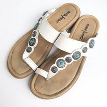 Minnetonka Leather Sasha Toe Loop Turquoise Detail Slide Sandals Shoes Womens 9 Photo