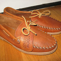 Minnetonka Men's Brown Genuine Moose Leather Moccasins Sz 10 M Very Nice Photo