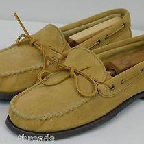 Minnetonka Men's Classic Suede Moccasins Loafer Shoes Size 10 Beige Photo