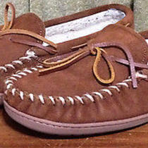 Minnetonka Men's Size 10 Brown Leather 4133 Hard Sole Pile Lined Moccasins 346 Photo