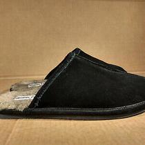 Minnetonka Men's Sz 8 Faux Fur Indoor Outdoor Black Leather Suede Slippers 41960 Photo