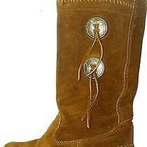 Minnetonka Mocassin Brown Suede Pull on Tassel Indian Western Mid Calf Boots 6 Photo