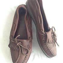 Minnetonka Mocassins Mocs Soft Brown Leather Size 12 Photo