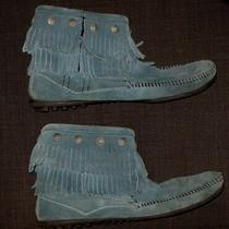 Minnetonka Moccasin 697f Blue Leather Zipper Ankle Boots Shoes Women's Size 9.5 Photo