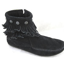 Minnetonka Moccasin 9m Black Suede Fringe Ankle Boots Womens Ladies Shoes  Photo